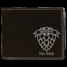 """Leatherette Bifold Wallet in Black/Silver (4 1/2"""" x 3 1/2"""")"""