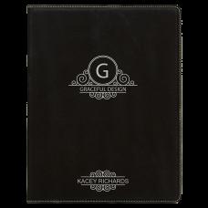 "Leatherette Mini Portfolio in Black/Silver with Notepad (7"" x 9"")"