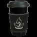 "Leatherette Mug Sleeve in Black/Silver (3"")"