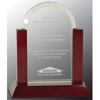 """Jade Dome Gateway Glass Award with Rosewood Piano Finish Base (7"""")"""