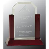 "Jade Clip Corner Glass Award with Rosewood Piano Finish Base (7"")"