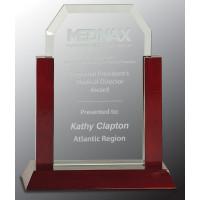 "Jade Clip Corner Glass Award with Rosewood Piano Finish Base (8"")"