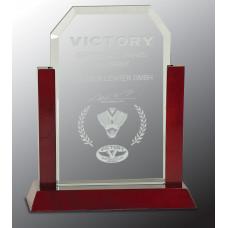 "Jade Clip Corner Glass Award with Rosewood Piano Finish Base (9"")"