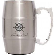 Metal Barrel Mugs with Handle in Silver (17 oz)