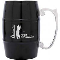 Metal Barrel Mugs with Handle in Black (17 oz)