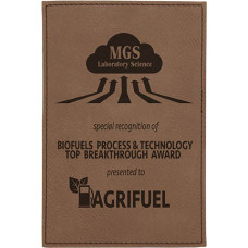 "Leatherette Plaque Plate in Dark Brown (4"" x 6"")"
