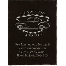 """Leatherette Plaque Plate in Black/Silver (6"""" x 8"""")"""