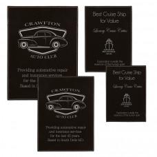 Leatherette Plaque Plate Sample Setin Black/Silver