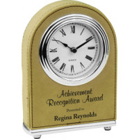 "Leatherette Arch Desk Clock Light Brown (4"" x 5 1/2"")"