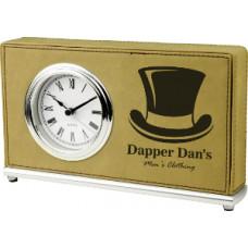 "Leatherette Horizontal Desk Clock Light Brown (7 1/2"" x 4 1/2"")"