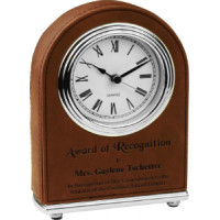 "Leatherette Arch Desk Clock Dark Brown (4"" x 5 1/2"")"