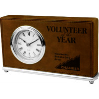 "Leatherette Horizontal Desk Clock Dark Brown (7 1/2"" x 4 1/2"")"