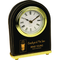"Leatherette Arch Desk Clock Black (4"" x 5 1/2"")"