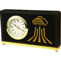 "Leatherette Horizontal Desk Clock Black (7 1/2"" x 4 1/2"")"