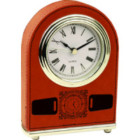 "Leatherette Arch Desk Clock Rawhide (4"" x 5 1/2"")"