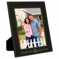 """Leatherette Picture Frame in Black/Silver (8"""" x 10"""")"""