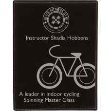 "Leatherette Plaque in Black/Silver (10 1/2"" x 13"")"