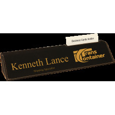 """Leatherette Desk Wedge with Business Card Holder in Black (10 1/2"""")"""