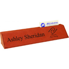 "Leatherette Desk Wedge with Business Card Holder in Rawhide (10 1/2"")"