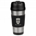 Leatherette Stainless Steel Travel Mug in Black/Silver (16 oz.)