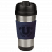 Leatherette Stainless Steel Travel Mug in Blue (16 oz.)