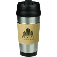 Leatherette Grip Travel Mug in Stainless Steel with Light Brown Grip (16 oz)