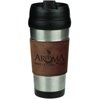 Leatherette Grip Travel Mug in Stainless Steel with Dark Brown Grip (16 oz)