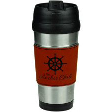 Leatherette Grip Travel Mug in Stainless Steel with Rawhide Grip (16 oz)