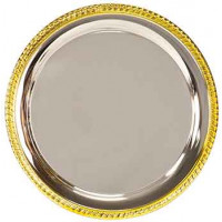 "Gold Rim Silver Plated Tray (10"")"