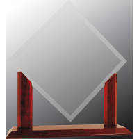 "Royal Diamond Clear Glass with Rosewood Piano Finish Base (15 1/2"")"