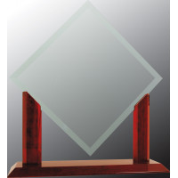 "Royal Diamond Jade Glass with Rosewood Piano Finish Base (15 1/2"")"