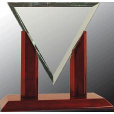 "Diamond Triangle Jade Glass with Rosewood Piano Finish Base (8 1/4"")"
