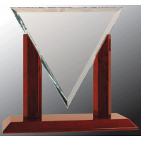 """Diamond Triangle Clear Glass with Rosewood Piano Finish Base (9 1/4"""")"""