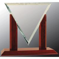 "Diamond Triangle Jade Glass with Rosewood Piano Finish Base (9 1/4"")"