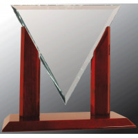 """Diamond Triangle Clear Glass with Rosewood Piano Finish Base (10 1/4"""")"""
