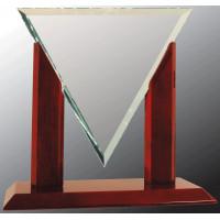 "Diamond Triangle Jade Glass with Rosewood Piano Finish Base (10 1/4"")"