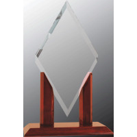 """Mayfair Diamond Clear Glass with Rosewood Piano Finish Base (13 1/4"""")"""