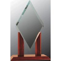 "Mayfair Diamond Jade Glass with Rosewood Piano Finish Base (13 1/4"")"