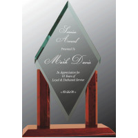 "Mayfair Diamond Jade Glass with Rosewood Piano Finish Base (15 1/4"")"