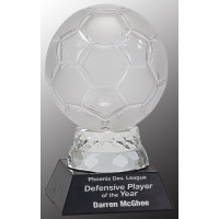 """Glass Soccer Ball with Marble Base (6 1/4"""")"""