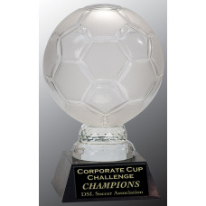 """Glass Soccer Ball with Marble Base (12"""")"""