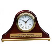 "Rosewood Piano Finish Mantel Desk Clock (7 1/2"" x 4 1/2"")"