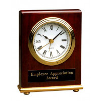 "Rosewood Piano Finish Rectangle Desk Clock (4"" x 5"")"