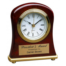 "Rosewood Piano Finish Bell Desk Clock (4 1/2"" x 5"")"