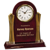 "Rosewood Piano Finish Desk Clock with Gold Metal Columns (8 1/4"" x 7 1/2"")"