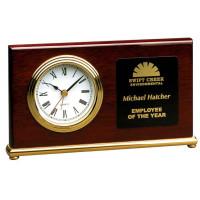 "Rosewood Piano Finish Horizontal Desk Clock (7 1/2"" x 4"")"