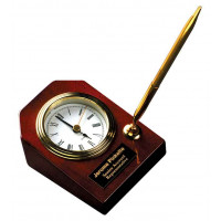 "Rosewood Piano Finish Desk Clock with Pens (3 5/8"" x 4 3/4"")"