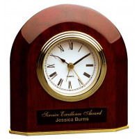 "Rosewood Piano Finish Beveled Arch Desk Clock (5 1/4"" x 5 1/2"")"