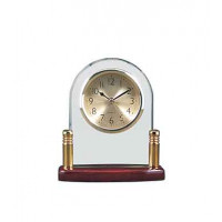 """Rosewood Piano Finish Glass Arch Clock with Posts (5 3/4"""" x 6 1/2"""")"""