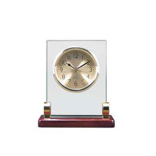 """Rosewood Piano Finish Glass Rectangle Clock with Posts (5 3/4"""" x 6 1/2"""")"""